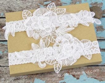Off White Pearl Beaded Lace Wedding Garter Set, Light Ivory Lace Garter Set, Toss Garter , Keepsake Garter / GT-15