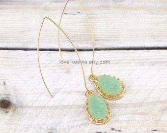 Mint Green Druzy Stone Long Ear Wire Earrings, Bridal Earrings, Bridesmaid Earrings,Mint Green Druzy Earrings, Style No. 6014
