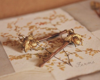 Little Bee Vintage Style Hair Pins Golden Brass, Copper Finish Brass Bobby Pins | Set of 2