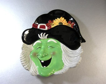 Halloween Ceramic Smiling Witch Canape Plate Candy Dish Appetizer Tray