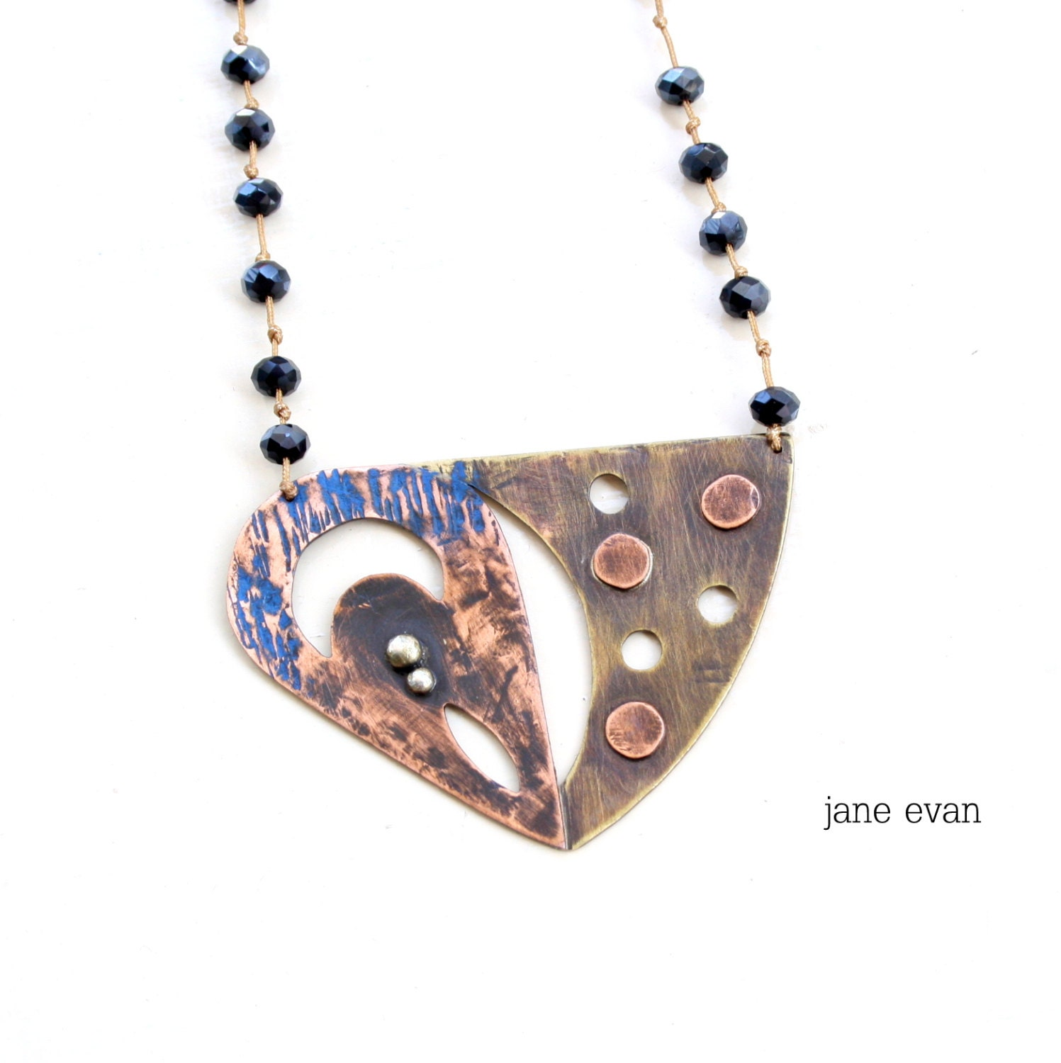 teardrop triangle rosario statement necklace copper brass