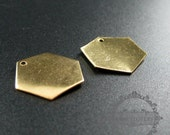 20pcs 17mm vintage style raw brass hexagon plate stamping DIY pendant charm supplies findings 1800202