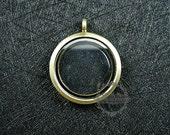 5pcs 30mm Bronze vintage style alloy round photo locket glass charm floating pendant charm 1111049