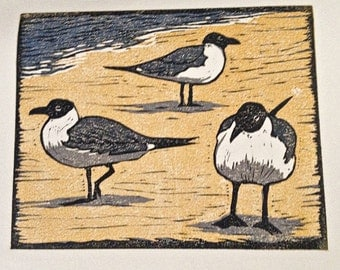 Laughing Gull Block Print