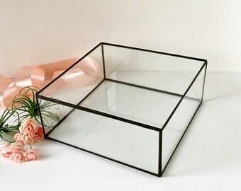 """Large Glass Display Box, Glass  Box, Clear Glass Jewelry Box 10.4""""x 10.4""""x 2"""""""
