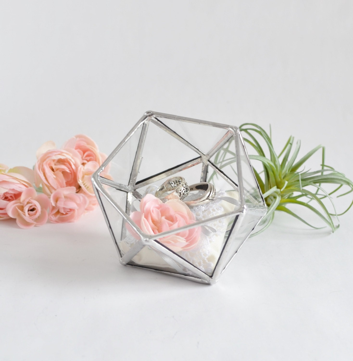 Glass box wedding gift wedding ring box glass terrarium clear for Cute engagement ring boxes
