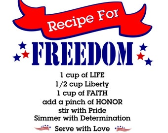 SVG - Recipe for Freedom - Freedom Recipe - Freedom - 4th of July - Fourth of July - Patriotic - USA - Americana - Red White Blue - Cricut