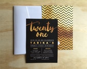 PRINTED Twenty First 21st gold foil effect invitations with envelopes | various quantities
