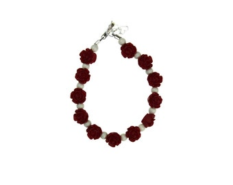 Red Flowers with White Pearls Bracelet (BFRW)