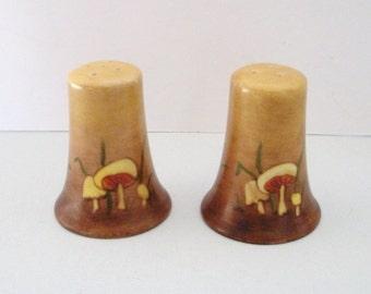Vintage Brown Ceramic Mushroom Toadstool Salt and Pepper Shakers 1960s
