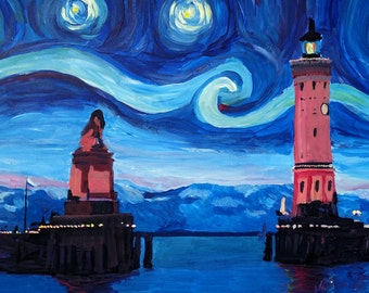 Starry Night in Lindau with Lion and Lighttower on Lake Constance - Limited Edition Fine Art Print/Original Canvas Painting