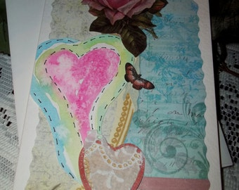 Watercolor heart card, valentine day card, pink heart, vintage heart, butterfly, rose, blue, green, pink, original card, ArtFromTheCabin