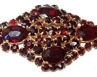 "Victorian Czech Brooch Pin Bohemian Red Natural Garnets Gold Metal 2"" Vintage"