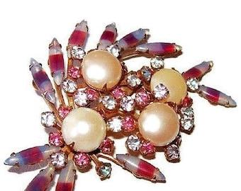 "Brooch Pin Beau Jewels Pink & Blue Givre Rhinestones Faux Pearls Gold Metal BIG 3"" Vintage"