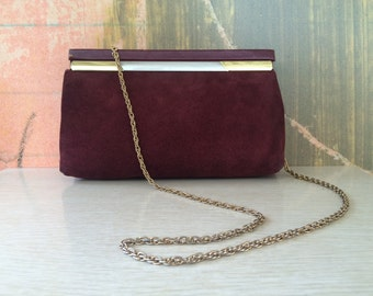 OXBLOOD CLUTCH )( Vintage Red Suede Clutch with Gold Chain )( 1960s