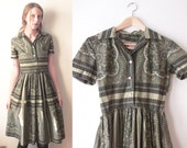 50% OFF SALE 50's Olive green Patterned PAISLEY Button up full skirt Collared dress intricate special unique gorgeous