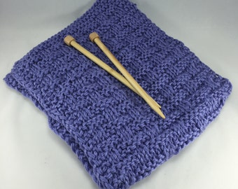 Basketweave Scarf Hand Knit Chunky Lilac Lavender Purple Washable Scarf