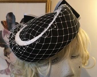 Vintage Black White net  40s style tilt hat Maison de Cantern