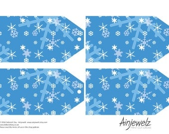 Frozen Snowflake Christmas Large Gift Tags Collage sheet, scrapbooking, cardmaking, blue INSTANT DIGITAL DOWNLOAD