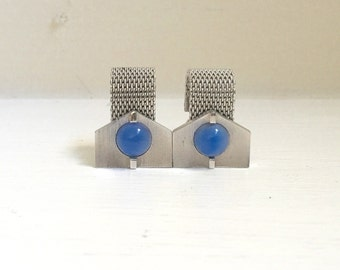 Mens Vintage Art Deco Geometric Silver-tone Cufflinks with Periwinkle Cabochons