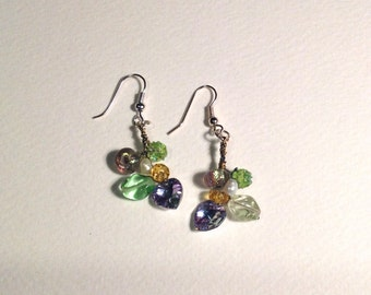 Vintage Bead Wire Wrapped Earrings