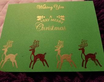 Christmas Reindeer Card on Green