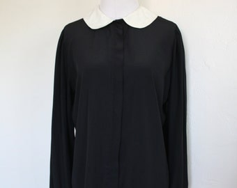 80's Black and White School Girl Blouse with Peter Pan Collar