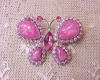 Beautiful Pink Jeweled Butterfly Brooch