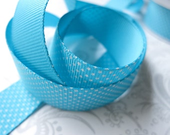 Teal Grosgrain Ribbon 7/8 -- 3 yards -- Swiss Stars -- American Crafts -- Pool -- Turquoise -- 58267 -- 22mm