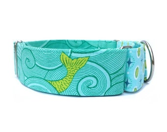 "Sea Monsters Dog Collar - Adjustable 1"" or 1.5"" Martingale Collar or Buckle Dog Collar"