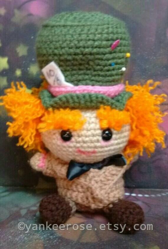 Mad Hatter Amigurumi : Baby Mad Hatter Inspired Fathead Amigurumi Plush Doll