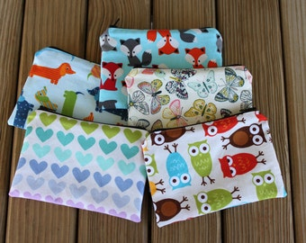 Reusable Snack Bags, Set of (5) - You Pick the Fabrics - Zipper Reusable Sandwich Bags