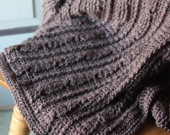 Chunky Cable Knit Chocolate Brown Afghan