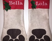 Paw Print Christmas Stocking (Monogramming extra charge)
