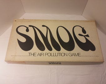 SMOG - The Air Pollution Game, vintage 1970s board game, environmental awareness, 1970s - Complete, all pieces and cards - RARE