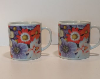 Vintage Pair of 1970s Blueridge Japan, Flowers and Butterflies, Tea Mugs, Coffee Mugs.  Vintage Kitchen, Vintage Coffee, Vintage Tea