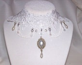 White lace chain choker,  teardrop beads 4,6 mm crystals, large center pearl drop    FREE shipping for USA orders ONLY