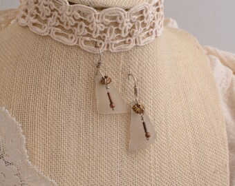 White sea Glass Earrings & Copper.  FREE SHIPPING