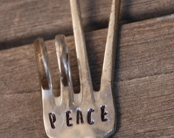 PEACE  hand stamped  Peace sign Twisted FORK Garden Marker with PEACE sign Stamp for your Plants and Herbs