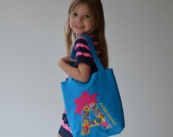 Kids Personalized Choose Initial Tote Bag Turquoise Machine Applique Lined Book Bag Dance Bag Gymnastics Bag Art Bag Lined Handbag Purse