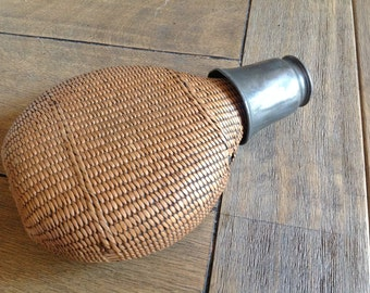 Vintage French Wicker Hip Flask Covered Canteen Flask with Shot Glass Lid