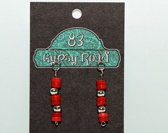 E076K - Red Heishi beads with silver spacers earrings