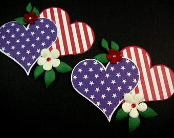 4th of July Scrapbook Embellishment,  Heart Embellishment, Heart Card Topper, Patriotic Heart Embellishment