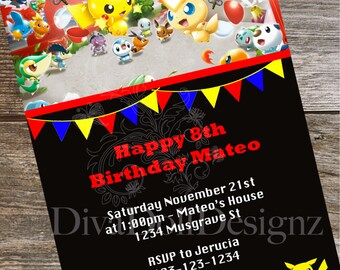 Pokemon Invites | Pokemon Invitations | Pokemon Party | Pokémon | Party Invitations | Kids Party Invitations | Pokemon Birthday Party