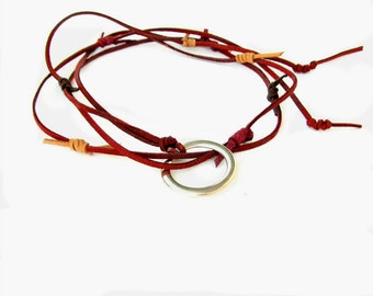 Burgundy Leather Choker, Toggle Necklace with Hoop, Lasso Necklace, Leather Lariat, Wrap Jewelry, Crimson, Burgundy, Bridsmaid gift