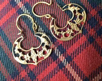 Filigree Gold Filled Hoop Earrings, Vintage Earrings, Leaf and Vine Design