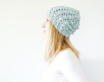 WINTER SALE the SUMTER hat - Slouchy hat beanie crocheted - winter blue - wool