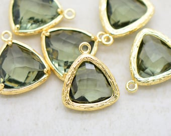 Wholesale Lot - Triangle Jewel Charms SMOKEY QUARTZ Faceted Glass 24k GOLD Plated Brass Setting ...