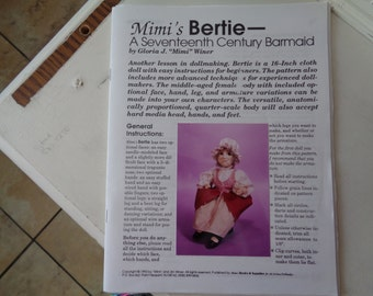 Mimis Bertie- A seventeenth century barmaid- 16 inch doll pattern and clothes pattern