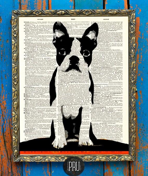 Mini Mod Boston Puppy Original Print on Antique Unframed Upcycled Bookpaper
